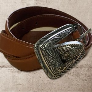Western Brown Leather Belt Size XL Womens